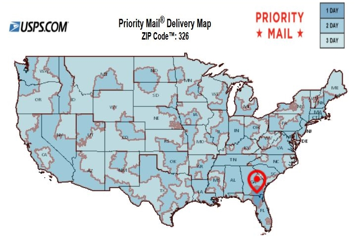 Priority Mail Map