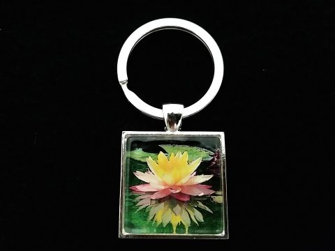 'Sunfire Reflection' Waterlily Jewelry Collection Key Ring Silver